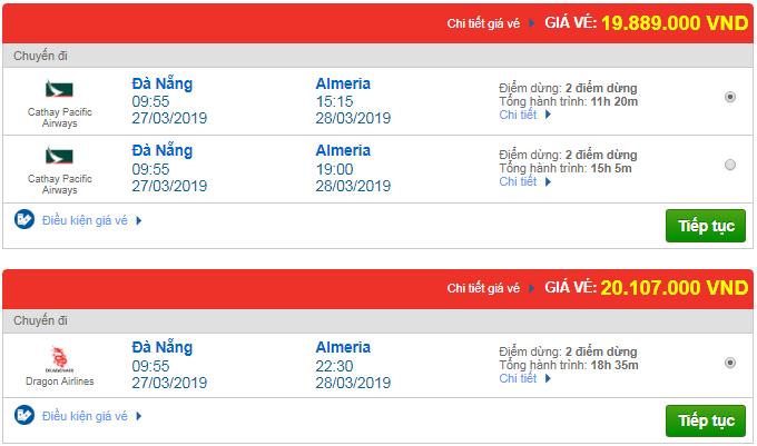 Giá vé máy bay từ Đà Nẵng đi Almeria, Tây Ban Nha mới nhất