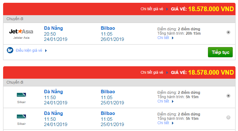 Giá vé máy bay Đà Nẵng đi Bilbao, Tây Ban Nha