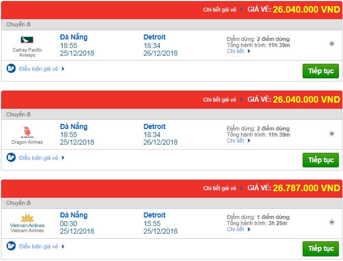 Giá vé máy bay Đà Nẵng đi Detroit, Mỹ mới nhất