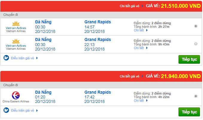 Giá vé máy bay từ Đà Nẵng đi Grand Rapids, Mỹ mới nhất