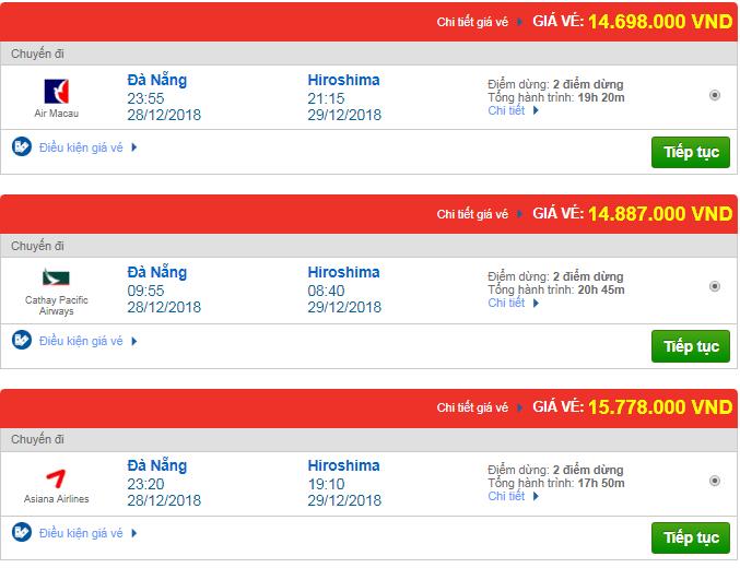 Giá vé máy bay từ Đà Nẵng đi Hiroshima, Nhật Bản mới nhất