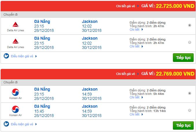 Thông tin giá vé máy bay Đà Nẵng đi Jackson, Mỹ mới nhất