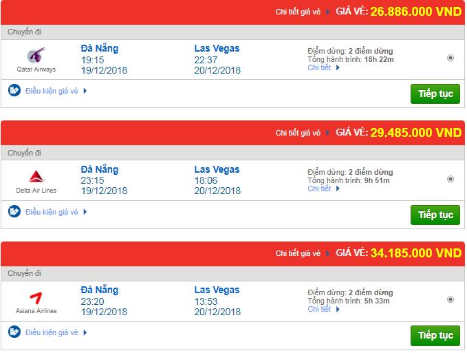 Giá vé máy bay từ Đà Nẵng đi Las Vegas, Mỹ mới nhất