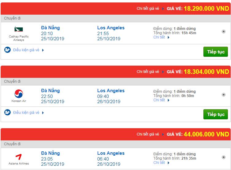 Chi tiết giá vé đi Mỹ tháng 10