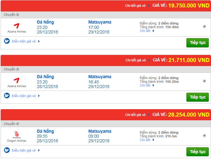 Giá vé máy bay từ Đà Nẵng đi Matsuyama, Nhật Bản mới nhất