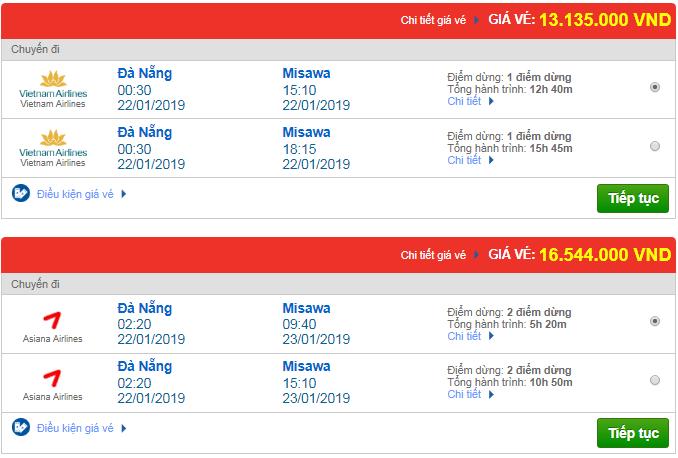 Giá vé máy bay Đà Nẵng đi Masawa, Nhật Bản mới nhất