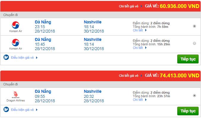 Giá vé máy bay từ Đà Nẵng đi Nashville, Mỹ mới nhất