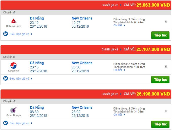 Giá vé máy bay Đà Nẵng đi New Orleans, Mỹ mới nhất