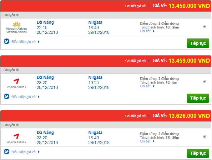 Giá vé máy bay Đà Nẵng đi Niigata, Nhật Bản mới nhất