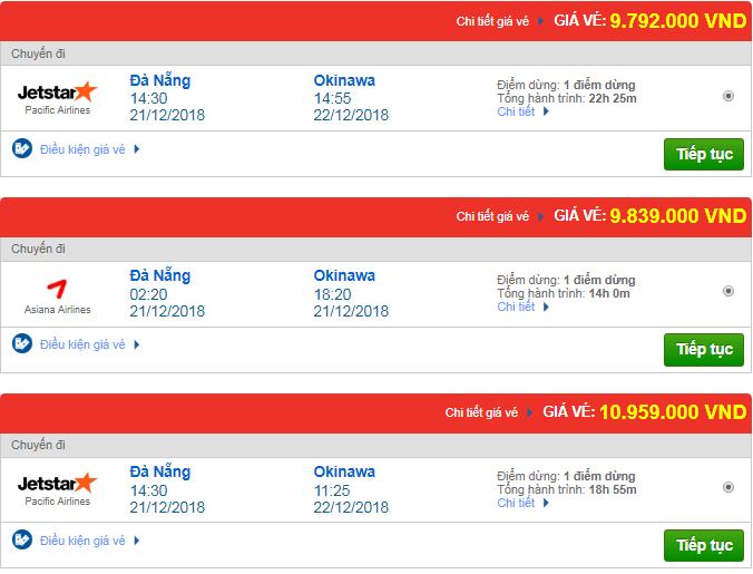 Giá vé máy bay Đà Nẵng đi Okinawa, Mỹ mới nhất