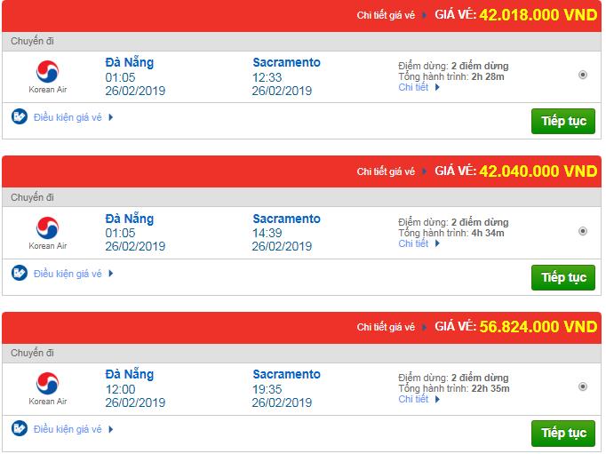 Giá vé máy bay từ Đà Nẵng đi Sacramento, Mỹ mới nhất
