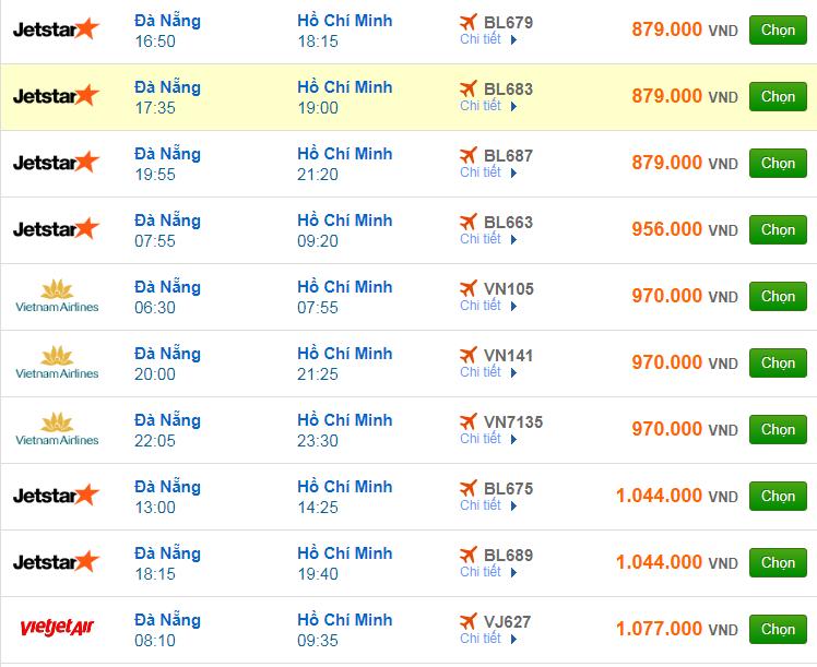 Chi tiết giá vé đi Sài Gòn hãng Vietnam Airlines, Vietjet Air, Jetstar tháng 10