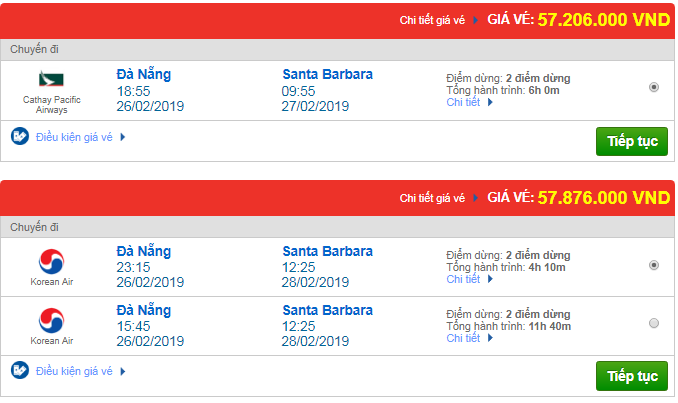 Giá vé máy bay Đà Nẵng đi Santa Barbara, Mỹ mới nhất