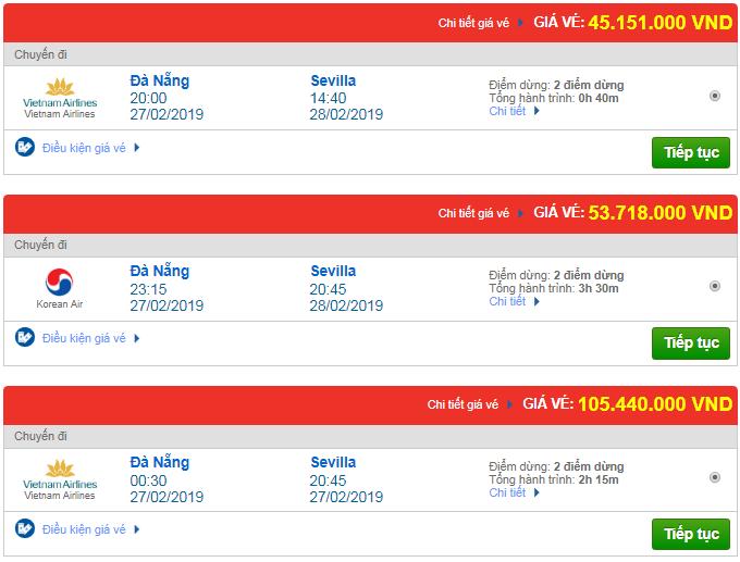 Giá vé máy bay Đà Nẵng đi Sevilla, Tây Ban Nha mới nhất