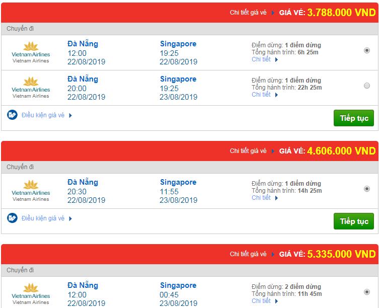 Chi tiết giá vé đi Singapore hãng Vietnam Airlines, Vietjet Air, Jetstar tháng 08