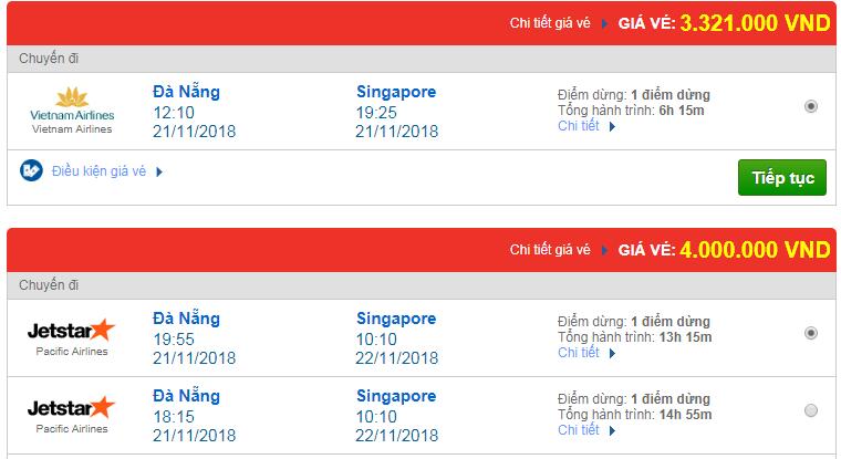 Chi tiết giá vé đi Singapore hãng Vietnam Airlines, Vietjet Air, Jetstar tháng 11
