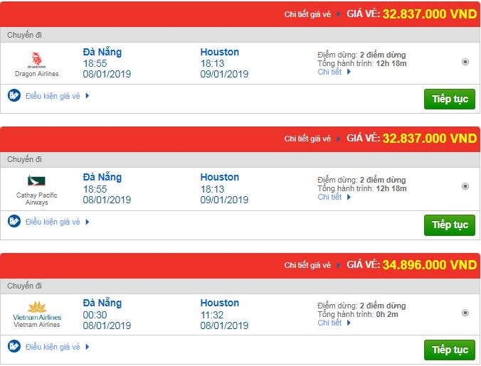Giá vé máy bay từ Đà Nẵng đi Texas, Mỹ mới nhất