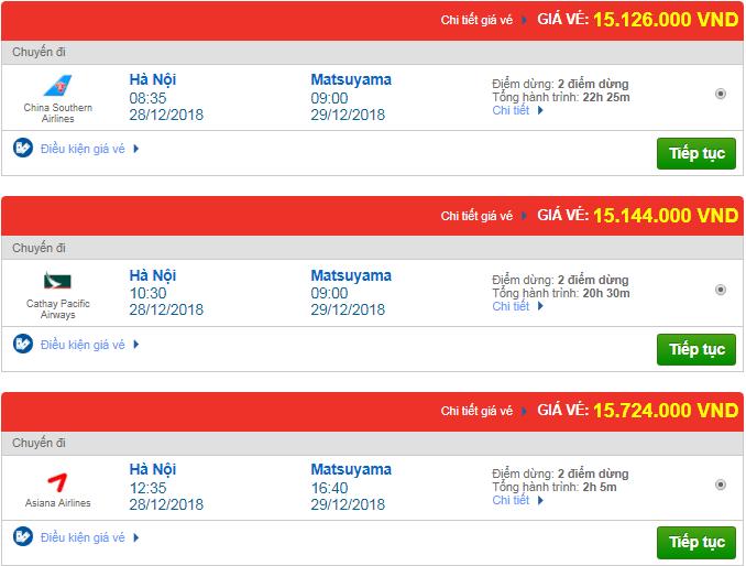 Giá vé máy bay từ Hà Nội đi Matsuyama, Nhật Bản mới nhất