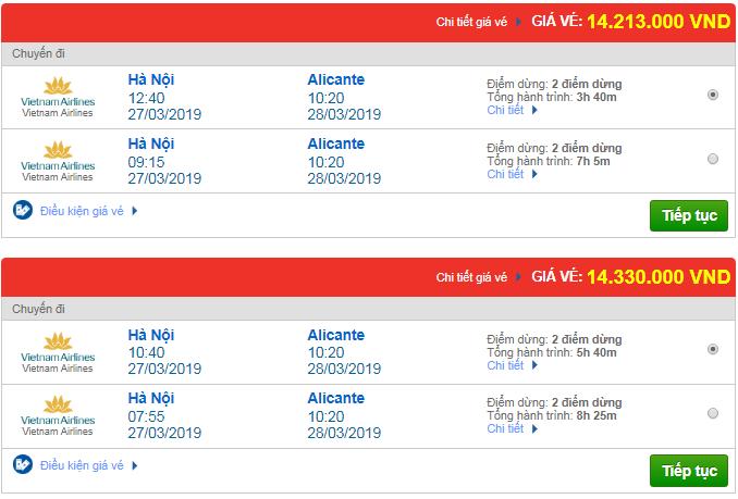 Thông tin giá vé máy bay đi Alicante mới nhất của Vietnam Airlines