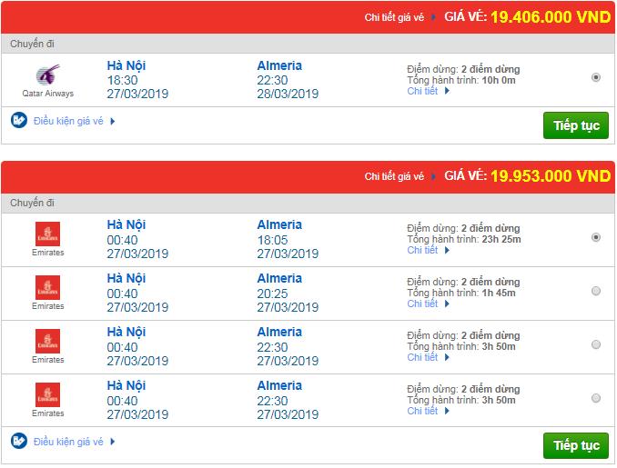 Giá vé máy bay từ Hà Nội đi Almeria, Tây Ban Nha mới nhất