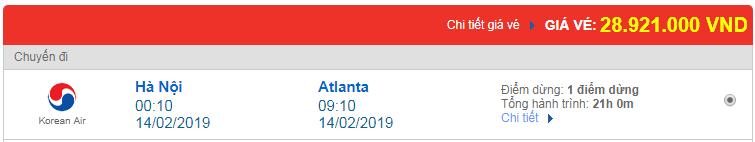 Vé máy bay Việt Nam đi Atlanta, Mỹ Korean Air
