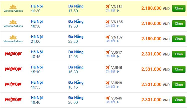 Chi tiết giá vé đi Đà Nẵng hãng Vietnam Airlines, Vietjet Air, Jetstar tháng 09