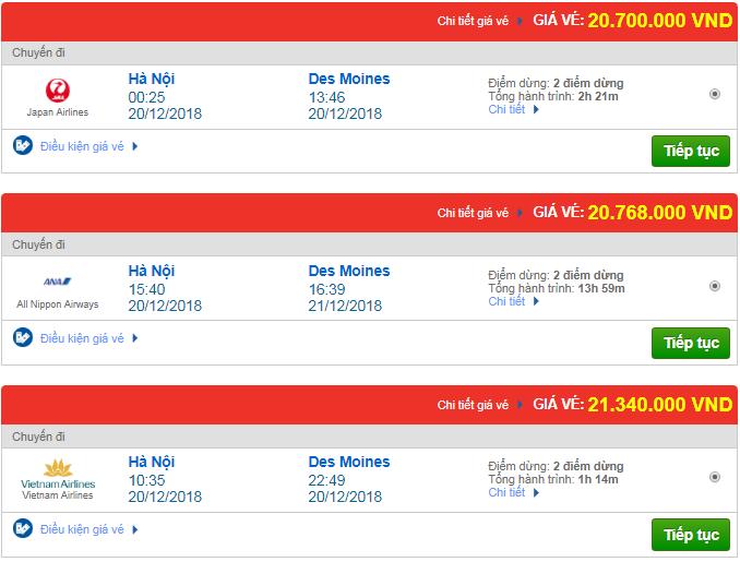 Giá vé máy bay Hà Nội đi Des Moines, Mỹ mới nhất