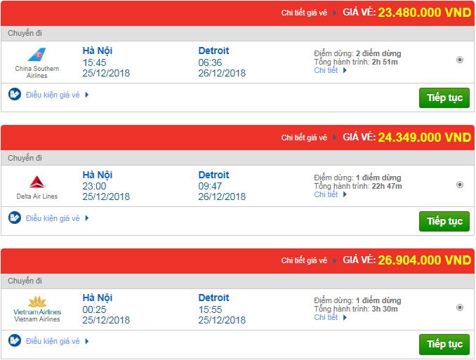 Giá vé máy bay Hà Nội đi Detroit, Mỹ mới nhất