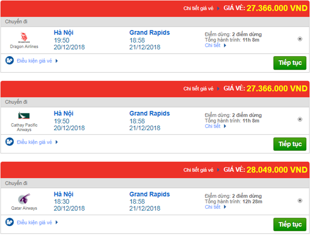 Giá vé máy bay từ Hà Nội đi Grand Rapids, Mỹ mới nhất