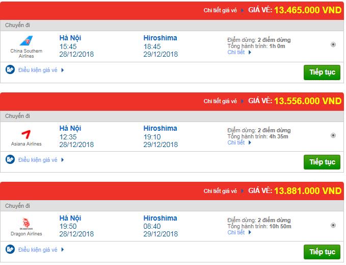 Giá vé máy bay từ Hà Nội đi Hiroshima, Nhật Bản mới nhất