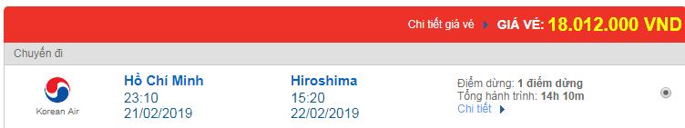 Vé máy bay Việt Nam đi Hiroshima, Nhật Bản Korean Air