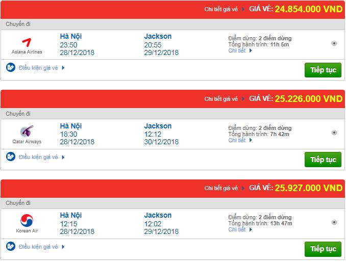 Thông tin giá vé máy bay Hà Nội đi Jackson, Mỹ mới nhất