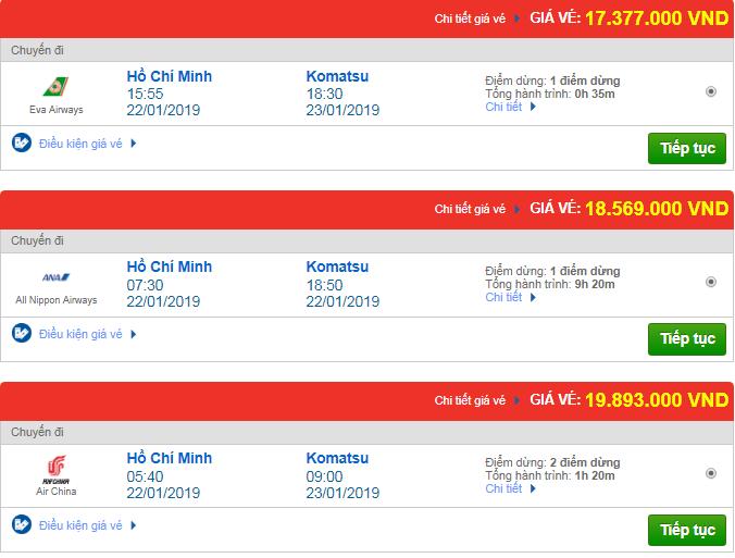 Vé máy bay đi Komatsu, Nhật Bản một số hãng hàng không quốc tế khác