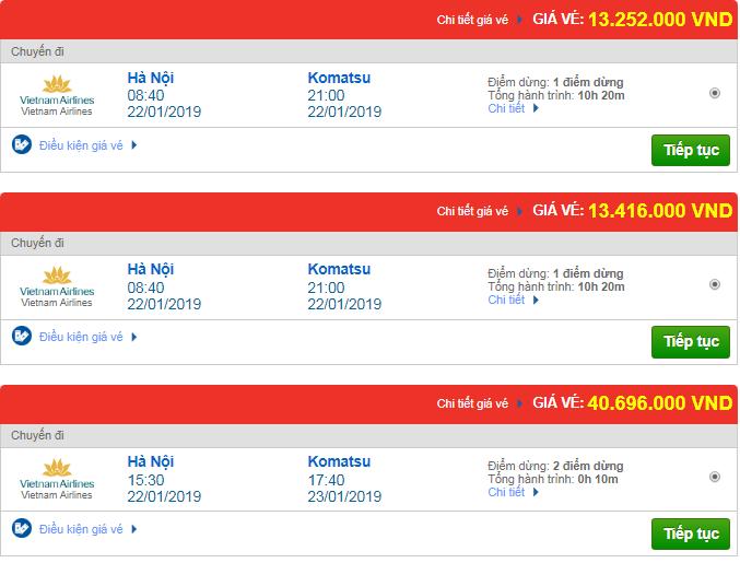 Vé máy bay đi Komatsu, Nhật Bản của Vietnam Airlines có giá bao nhiêu ?