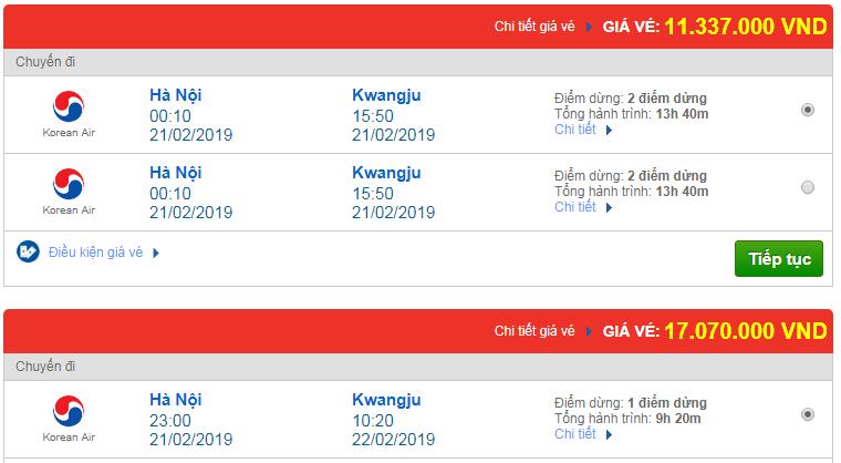 Vé máy bay Việt Nam đi Kwangju, Hàn Quốc Korean Air