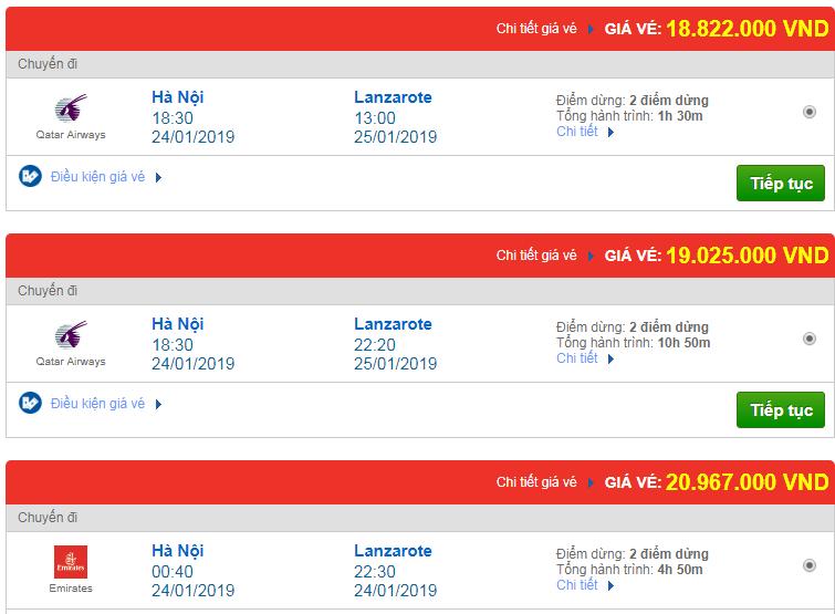 giá vé máy bay Hà Nội đi Arrecife, Tây Ban Nha