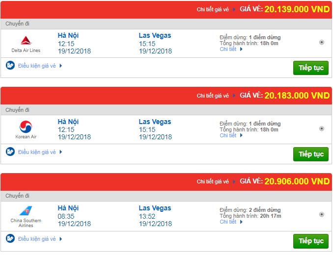 Giá vé máy bay từ Hà Nội đi Las Vegas, Mỹ mới nhất
