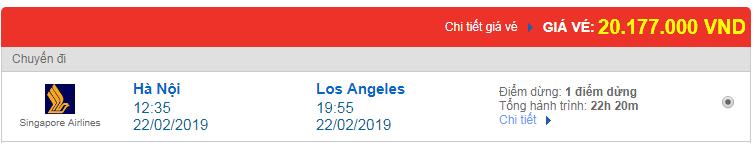 Vé máy bay đi Los Angeles, Mỹ hãng Singapore Airlines