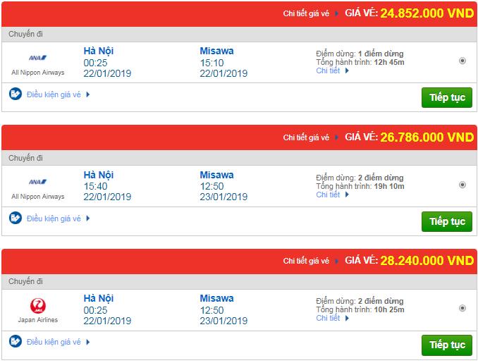 Giá vé máy bay Hà Nội đi Masawa, Nhật Bản mới nhất