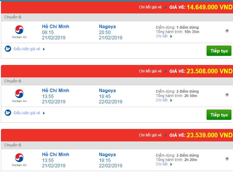 Vé máy bay Việt Nam đi Nagoya, Nhật Bản Korean Air