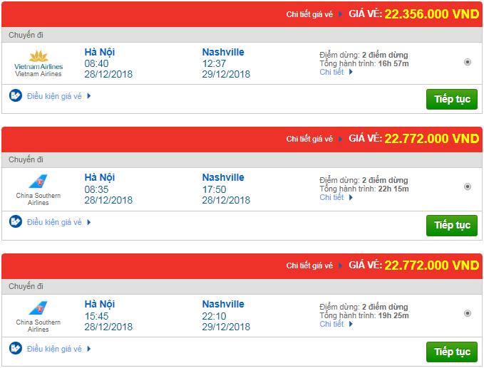 Giá vé máy bay từ Hà Nội đi Nashville, Mỹ mới nhất