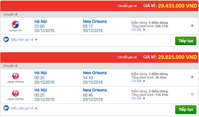 Giá vé máy bay Hà Nội đi New Orleans, Mỹ mới nhất