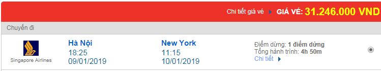 Vé máy bay đi Newyork, Mỹ hãng Singapore Airlines