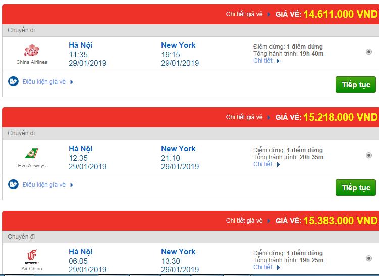 Chi tiết giá vé đi Mỹ tháng 01