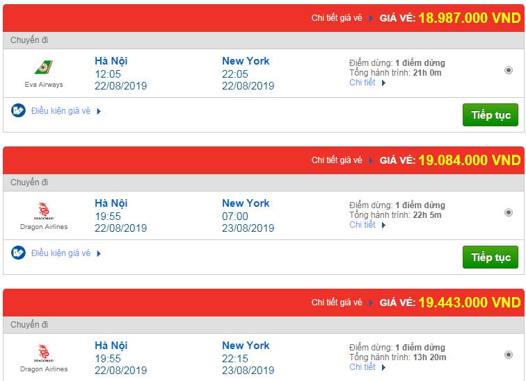 Chi tiết giá vé đi Mỹ tháng 08