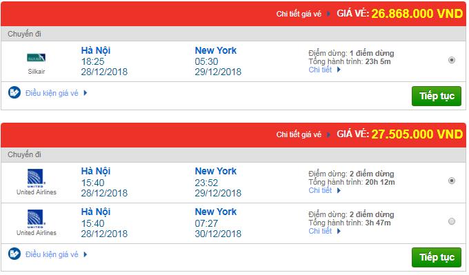 Giá vé máy bay từ Hà Nội đi Newark, Mỹ mới nhất
