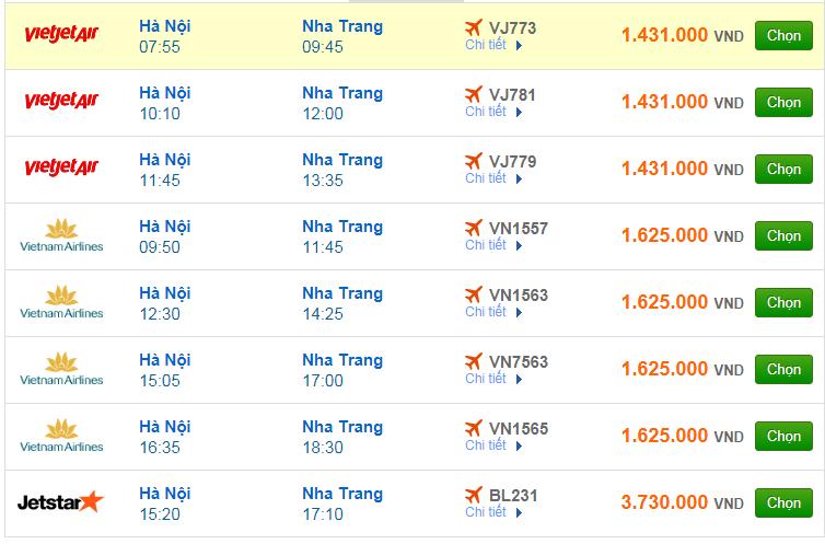 Chi tiết giá vé đi Nha Trang Vietnam Airlines, Vietjet Air, Jetstar tháng 01