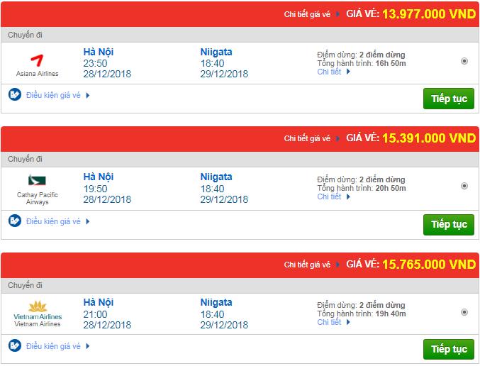 Giá vé máy bay Hà Nội đi Niigata, Nhật Bản mới nhất