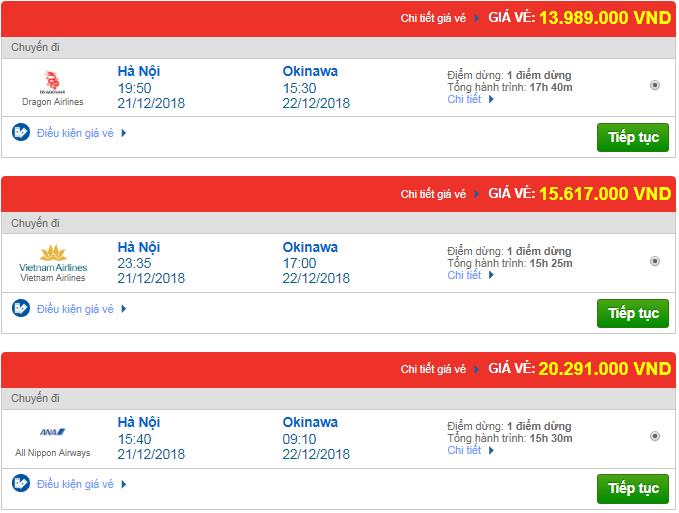 Giá vé máy bay Hà Nội đi Okinawa, Mỹ mới nhất