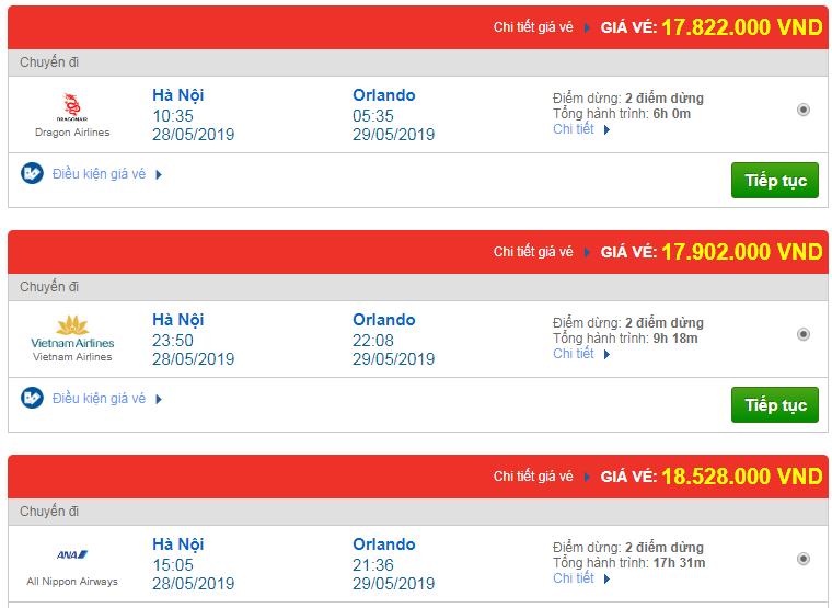 Chi tiết giá vé đi Mỹ tháng 05